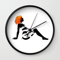 dallas Wall Clocks featuring Leeloo Dallas Mudflap by castlepöp