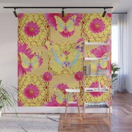 Abstract Fuchsia Pink Gerber Flower & Yellow Butterfly Patterns Wall Mural