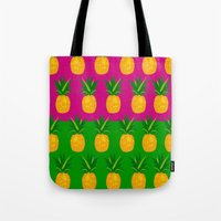 pineapples Tote Bags featuring Pineapples by The Wallpaper Files