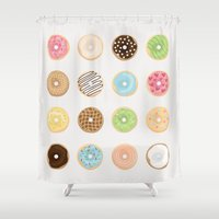 donut Shower Curtains featuring Donut by Céline Dscps