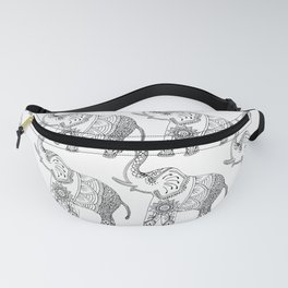 Elephant Drawing in black and white, mehndi style. Fanny Pack