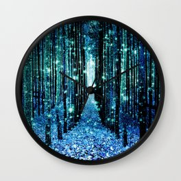 Magical Forest Teal Turquoise Wall Clock