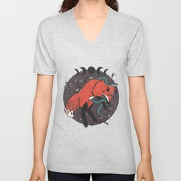 Jumping Fox With Snake, Gemstones, Moon Phases, And Witch Design Elements Unisex V-Neck