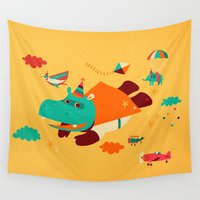 hippo Wall Tapestries featuring Super Hippo! by Irene Chan