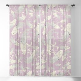 Totem Artic Wolf lilac Sheer Curtain