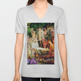 The Fairy's Woodland Funeral by John Anster Fitzgerald Unisex V-Neck