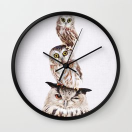 Stacked Owls on Lilac Wall Clock