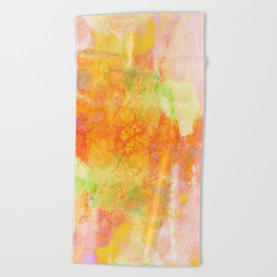 PASTEL IMAGININGS 3 Colorful Pretty Spring Summer Orange Yellow Peach Abstract Watercolor Painting Beach Towel