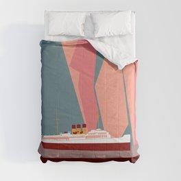 Norway fjords retro vintage style travel Comforters