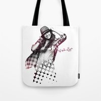 miley cyrus Tote Bags featuring Miley Cyrus by mileyhq