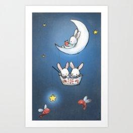 Les lapins dans la lune Art Print