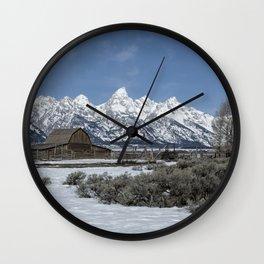 John Moulton Barn and the Grand Tetons Wall Clock
