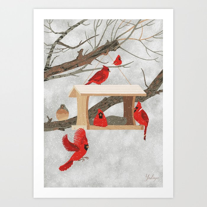 Cardinals At Bird Feeder Art Print by Yuliya - X-LARGE (s6-8611810p4a1v3) photo