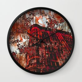 Red Broadway NYC series by Lika Ramati Wall Clock
