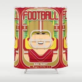 American Football Red and Gold - Hail-Mary Blitzsacker - Hazel version Shower Curtain