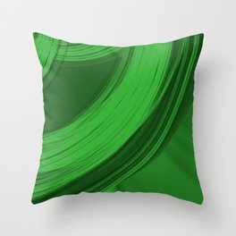 Sad semicircular rings of pistachio fabric with misty ribbons intersections.  Throw Pillow