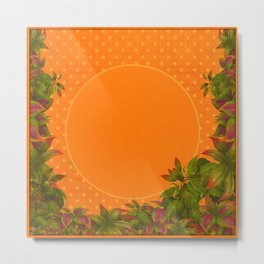 """Plants & Orange Polka Dots"" Metal Print"