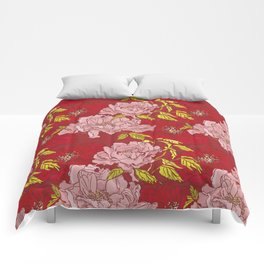 Peonies on Red Comforters