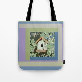 Birdhouse in barnwood, blue sage green taupe Tote Bag