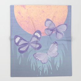 Moonrise Meadow Butterflies Throw Blanket