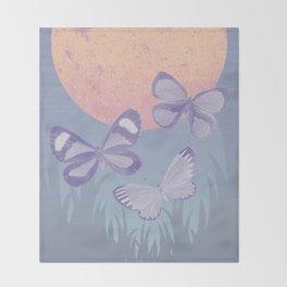 Moonrise Meadow Butterflies Throw Blanket