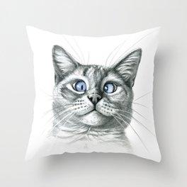 Cross Eyed cat G122 Throw Pillow
