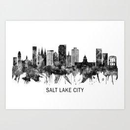 Salt Lake City Utah Skyline BW Art Print