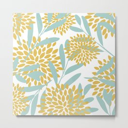Floral Prints, Leaves and Blooms, Yellow and Aqua Metal Print