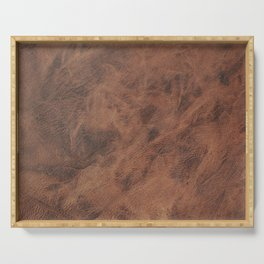 Old Tan Leather Print Texture | Cowhide Serving Tray