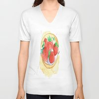 strawberry V-neck T-shirts featuring strawberry by Ayşe Sezaver