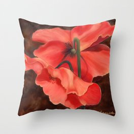 Red Poppy Three Throw Pillow