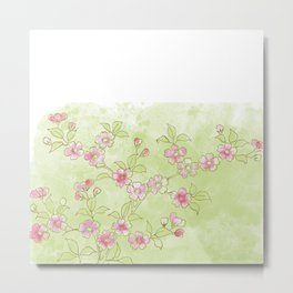 Cherry Blossoms:  Delicate Watercolor Branches, pink on bright Spring green Metal Print