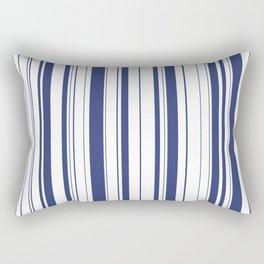 Minimalist Era - White & Indigo Blue Stripe Asymmetrical Rectangular Pillow
