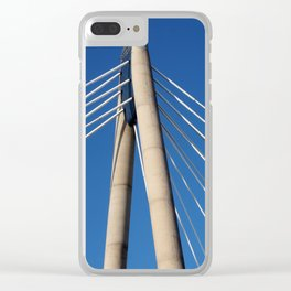 modern suspension bridge - southport engand Clear iPhone Case