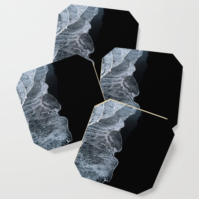 Waves on a black sand beach in iceland - minimalist Landscape Photography Coaster