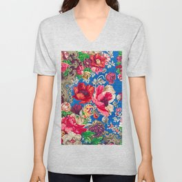California Watercolor - Colorful Vintage Poppies Unisex V-Neck