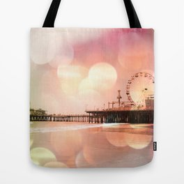 Sparkling pink Santa Monica Pier Tote Bag