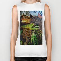 dinosaurs Biker Tanks featuring DINOSAURS by shannon's art space