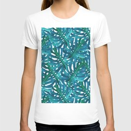 Monstera Swiss Cheese Plant Leaf Toss in Botanical Green T-shirt