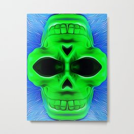 drawing and painting green skull with blue background Metal Print
