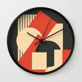 Geometrical abstract art deco mash-up scarlet beige Wall Clock