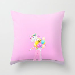 Rainbow Balloons on Pink Throw Pillow