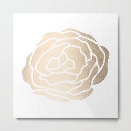Rose White Gold Sands on White Metal Print