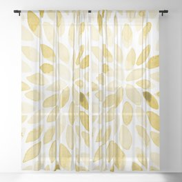 Watercolor brush strokes - yellow Sheer Curtain