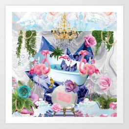 Flamingo Bathhouse Art Print