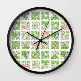Tudor Flowers Wall Clock
