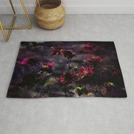 Mes ancolie - Aquilegia dark floral Rug