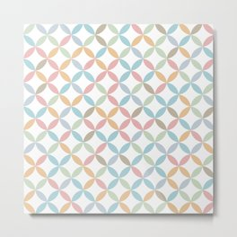 Seamless Circle Diamond Scandinavian Design Pattern Pastel Neutral Metal Print