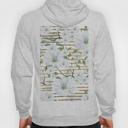 Elegant white faux gold stripes watercolor hand painted floral Hoody
