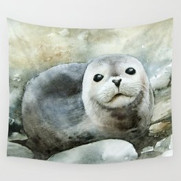 Curious seal on the pebbles Wall Tapestry